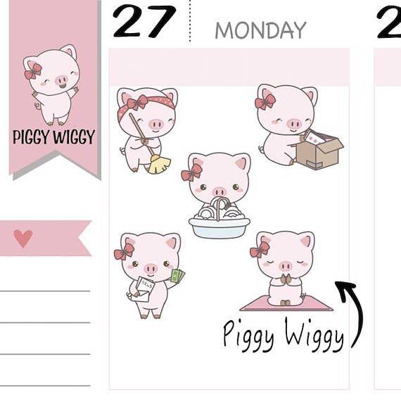 PW029 Reinigung Rechnung Aufkleber Sticker glücklich Post   Piggy ...