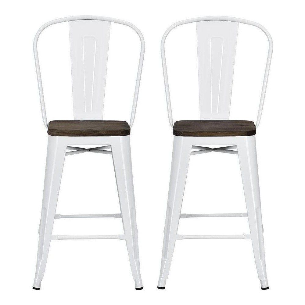 Awesome 24 Set Of 2 Lio Metal Counter Stool With Wood Seat White Short Links Chair Design For Home Short Linksinfo
