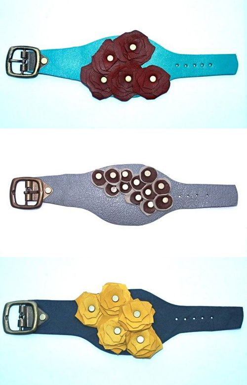 Photo of I discovered these funky leather cuffs by Lopa Art on Etsy. Lopa Art is a group …
