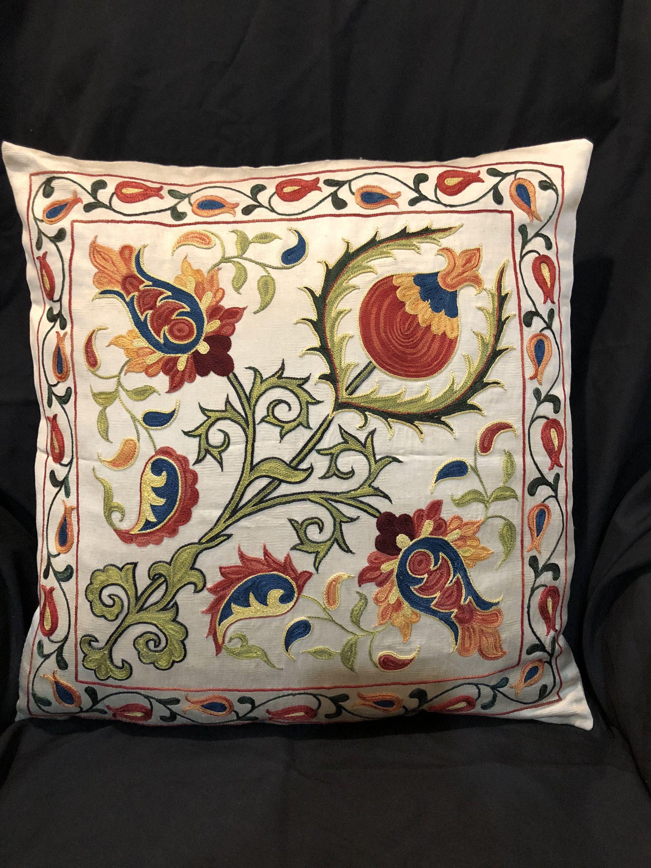Handmade suzani silk pillowcase suzani cushion uzbek suzani