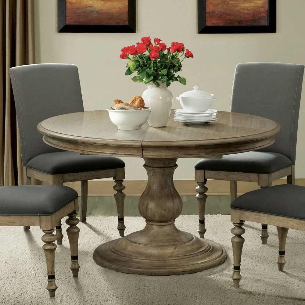 Corinne Wood Round Pedestal Dining Table in Sun-Drenched Acacia by ...