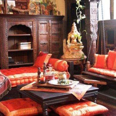 South Indian Living Room Decor With Traditional Furniture And Accessories