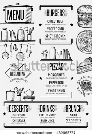 Restaurant menu placemat food brochure, cafe template design - dinner flyer