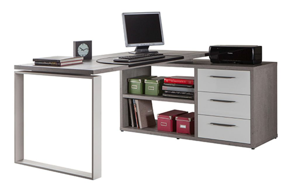 Bureau dangle reversible ufficio blanc gris en 2019 bureaux