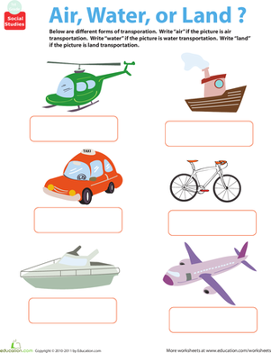All About Transportation Air Water Or Land Worksheet
