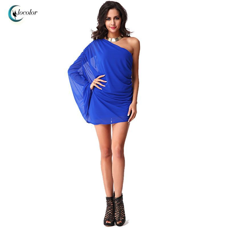 Clocolor bodycon dress summer short dress sexy blue Off-the-shoulder plain Mini above knee dress club summer short bodycon dress
