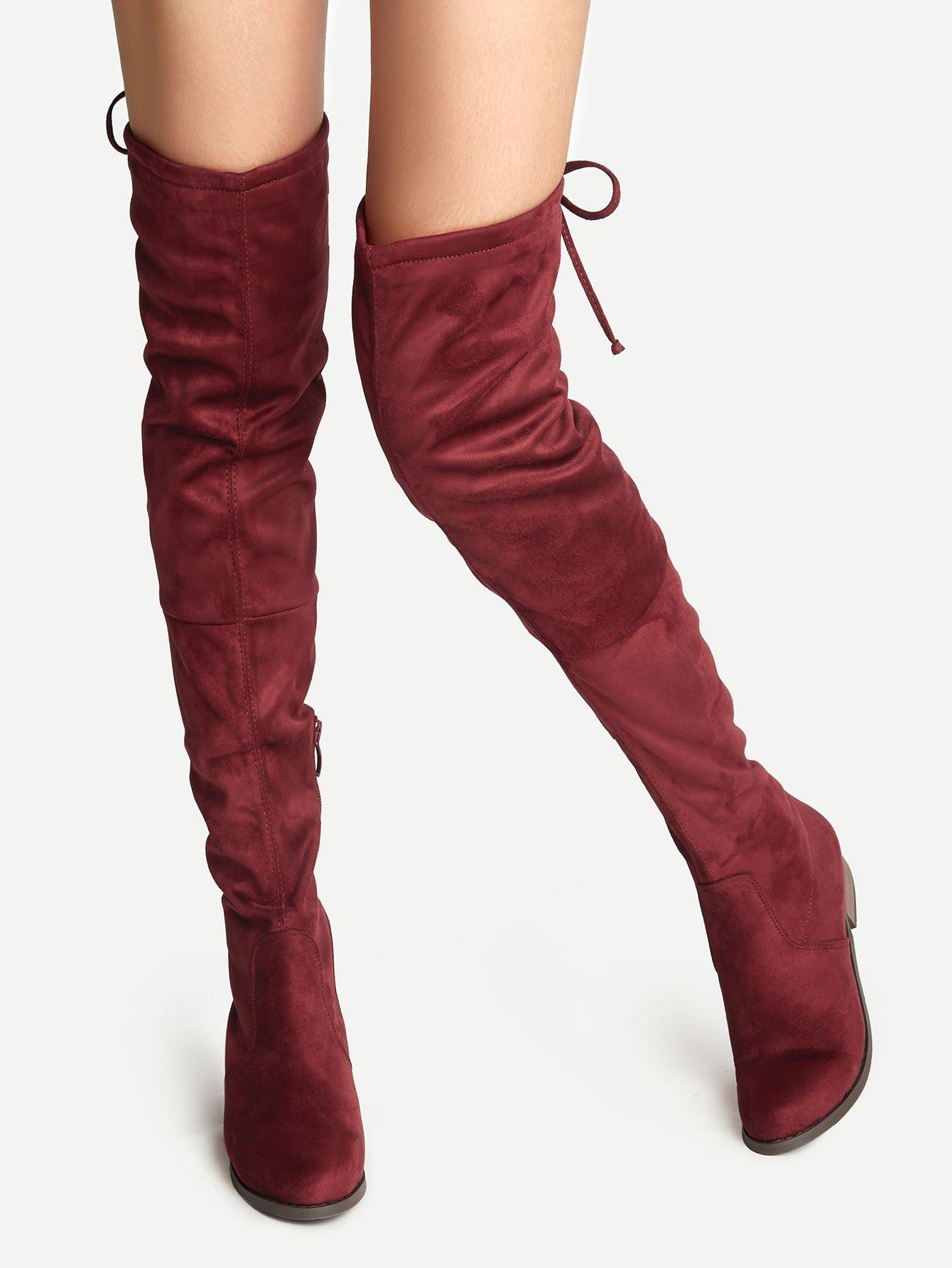 e1f90480710698 über den knie stiefel Velousleder Schnüren - burgund rot- German  SheIn(Sheinside)