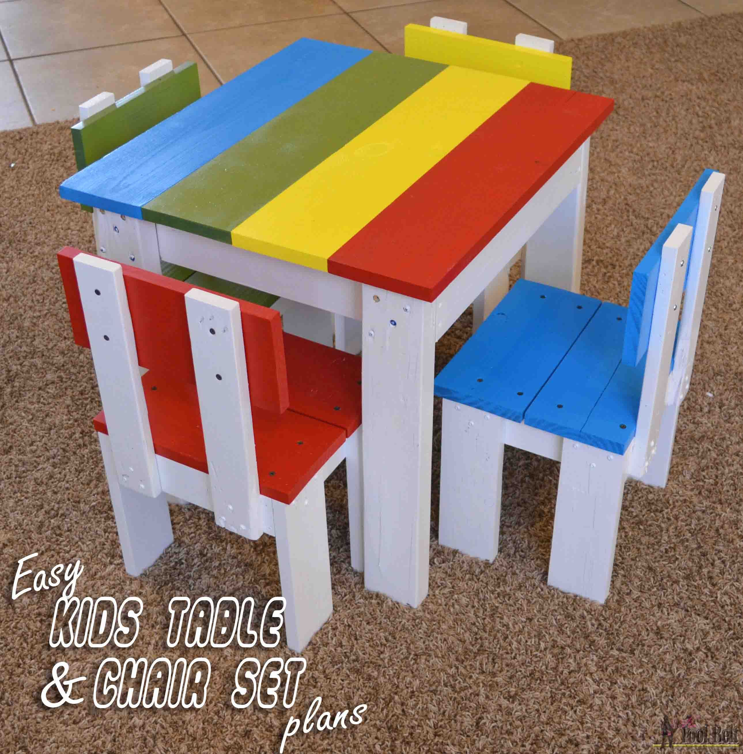 Build An Easy Table And Chair Set For The Little Kids Costs About 35 To Free Plans
