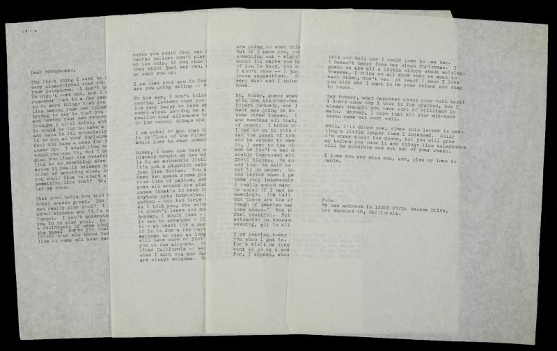 """A typed, unsigned file copy of a four-page letter on two leaves, letter dated """"Noon February 2"""" (1961), addressed to Arthur Miller's son, """"Dear Bobbybones."""" She writes in response to Bobby's letter, """"That pool table you told me about in that Danish hotel sounds great. Did I ever tell you that I can really play pool. I learned when I was about sixteen and it is something that you never forget."""""""