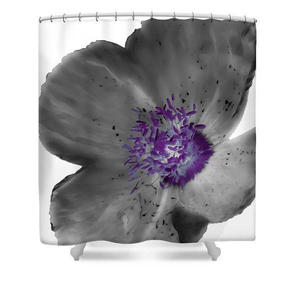 Unique Flower Shower CurtainPoppyWhiteGrey Gray PurpleFloral Bathroom CurtainBathroom DecorAcc