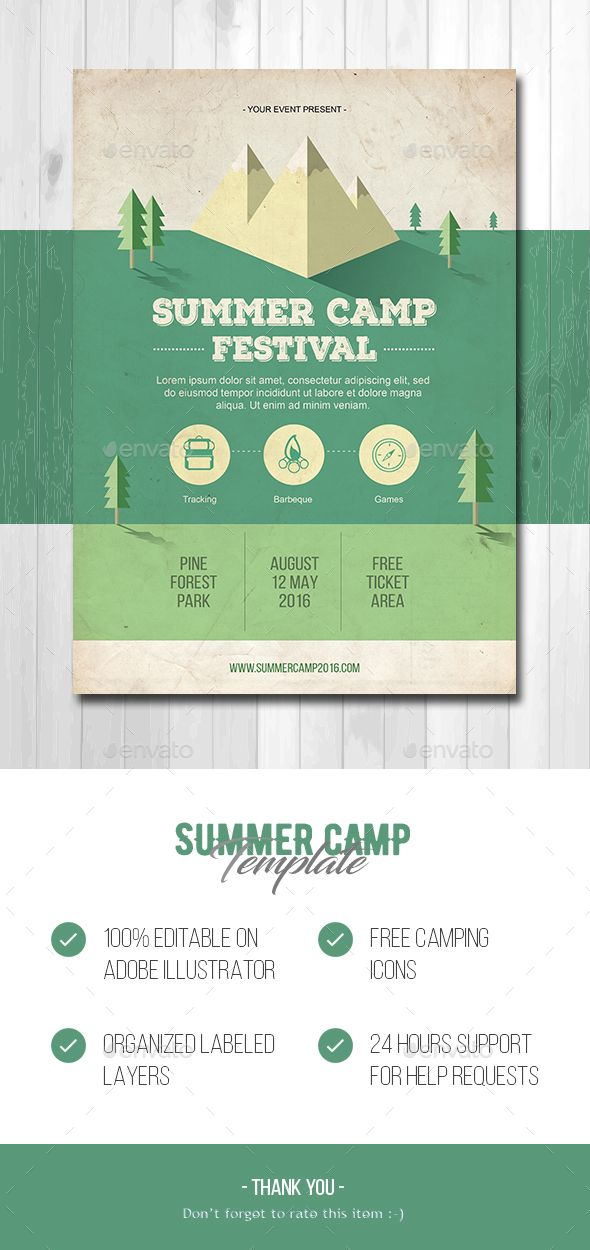 Summer Camp Flyer Template Ai Illustrator Download Here Https