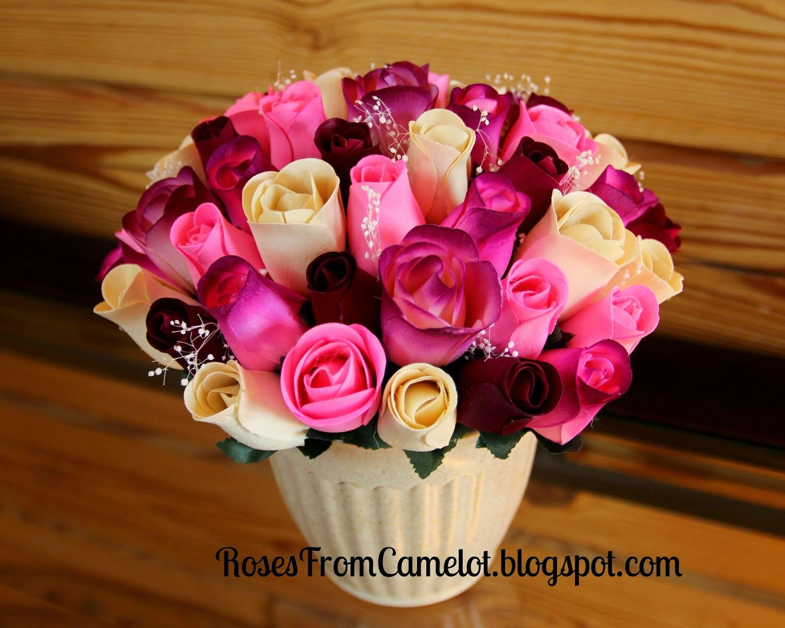 Burgundy And Pink Wooden Rose Bouquet Rosesfromcamelotspot