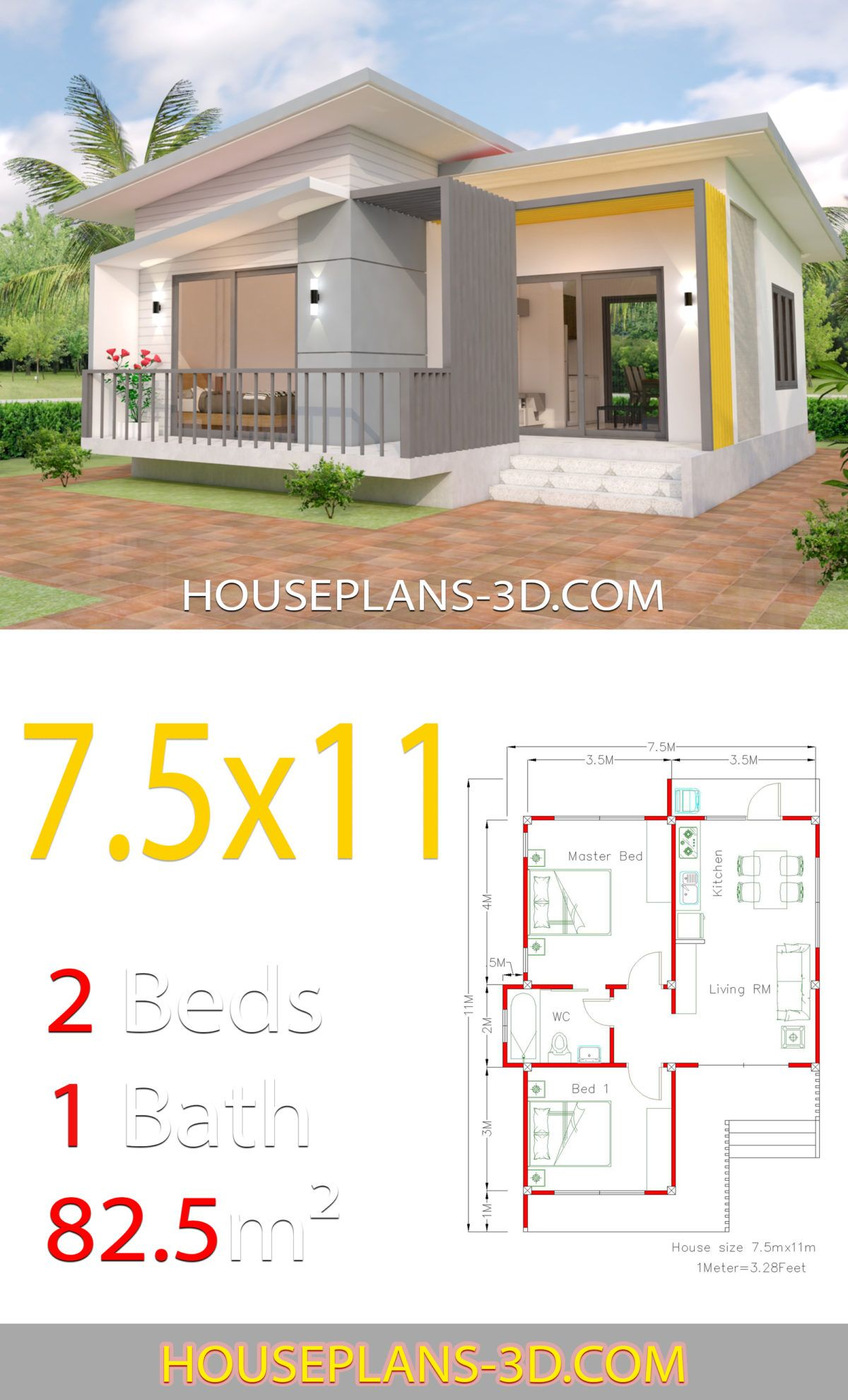 House Plans 7 5x11 With 2 Bedrooms Full Plans House Plans 3d In 2020 Bungalow House Plans Small House Design Plans House Plans