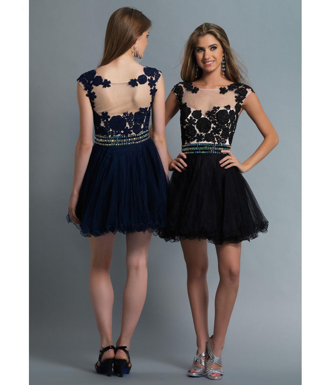 Dave u johnny black tulle u lace short dress prom dresses