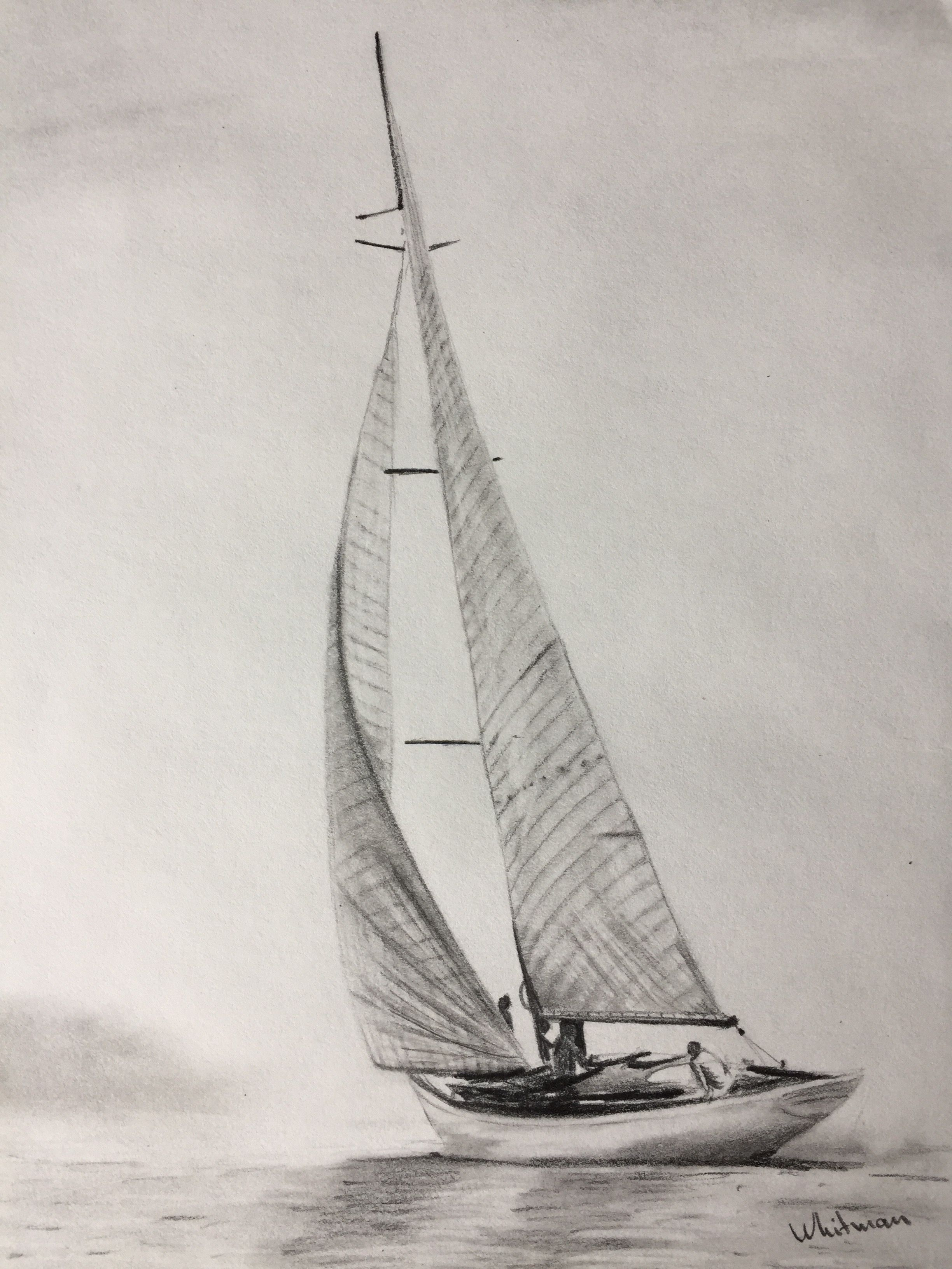$30 Sailing yacht sketch, full sails, misty shore, water ...