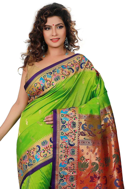 1a4bc9949e ARUNAFASHIONS Women's Paithani Embroidery Art Silk Saree (Black with Rani  Colour Blouse Piece, Free