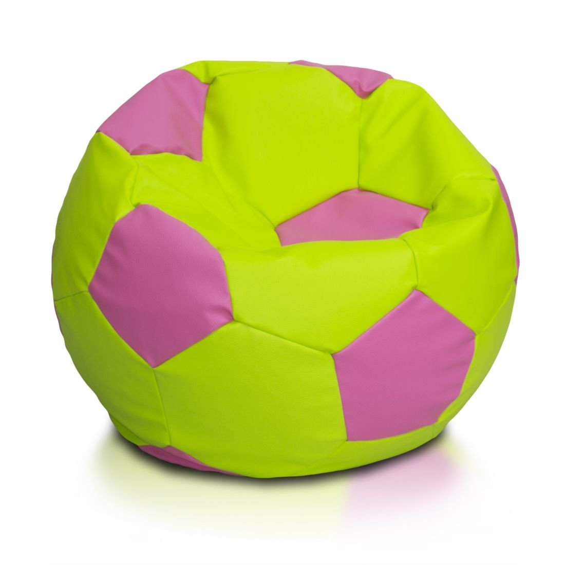 Large Multi Color Soccer Ball Bean Bag Chair Yellow Red And Navy Blue Faux Leather