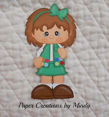 Junior Girl Scout, premade paper piecing for scrapbooks pages albums borders