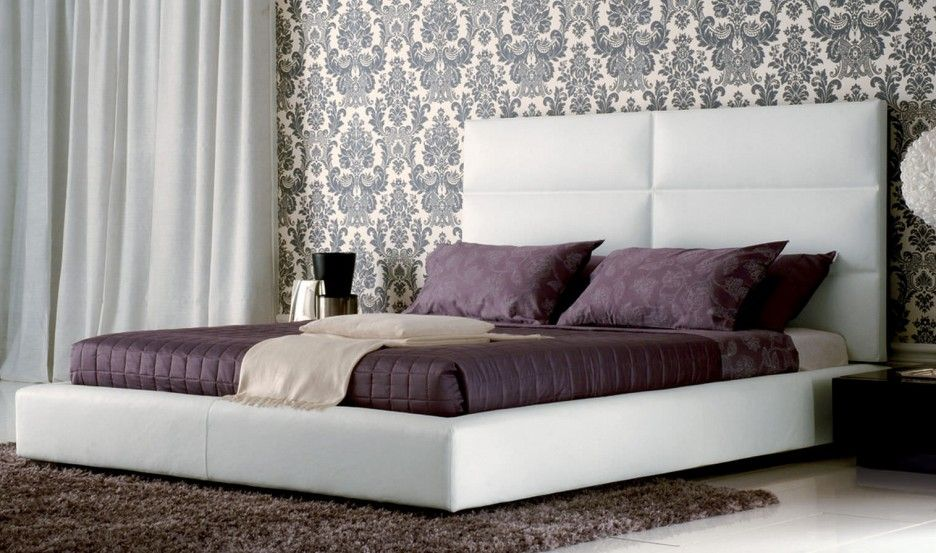 Contemporary King Size Bed With Headboard Upholstered In