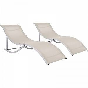 Photo of VIDAXL Foldable lounge chairs 2 pcs Textilene Cream