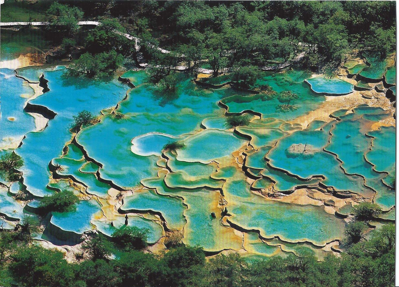 Huanglong Travertine Terraces, a natural wonder Intensely