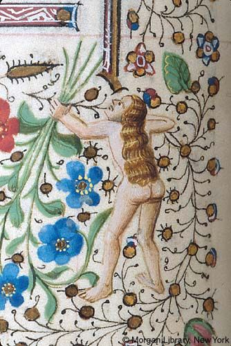 Woman, nude, holding bow and arrow consisting of foliate extensions | Book of Hours | France, Provence | ca. 1440-1450 | The Morgan Library & Museum