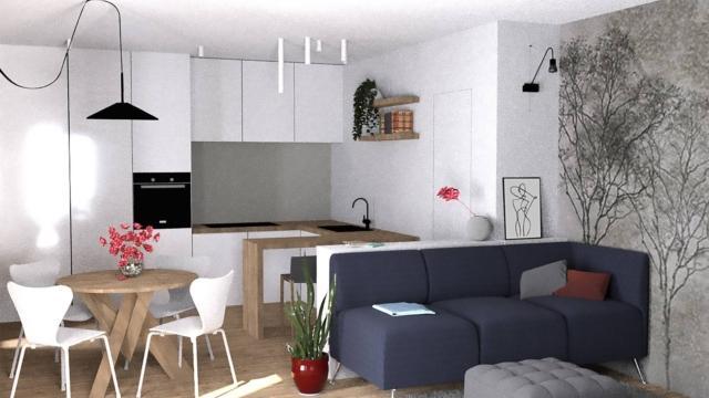 Soggiorno E Cucina In Un Unico Ambiente Progetto D Arredo In 3d