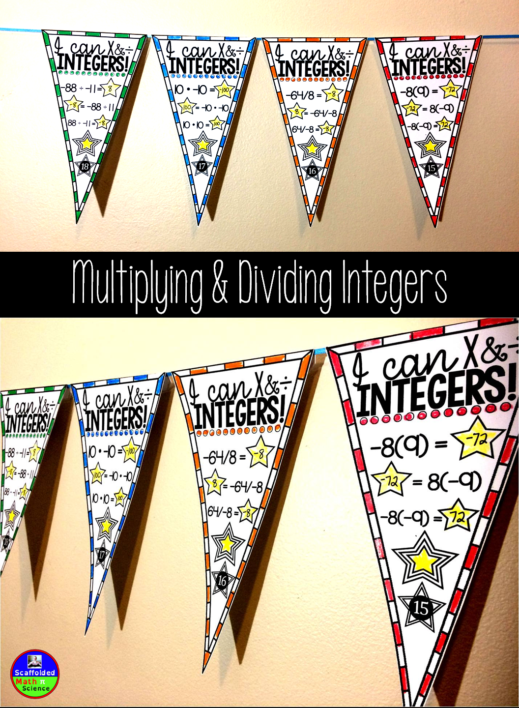 Multiplying And Dividing Integers Math Pennant