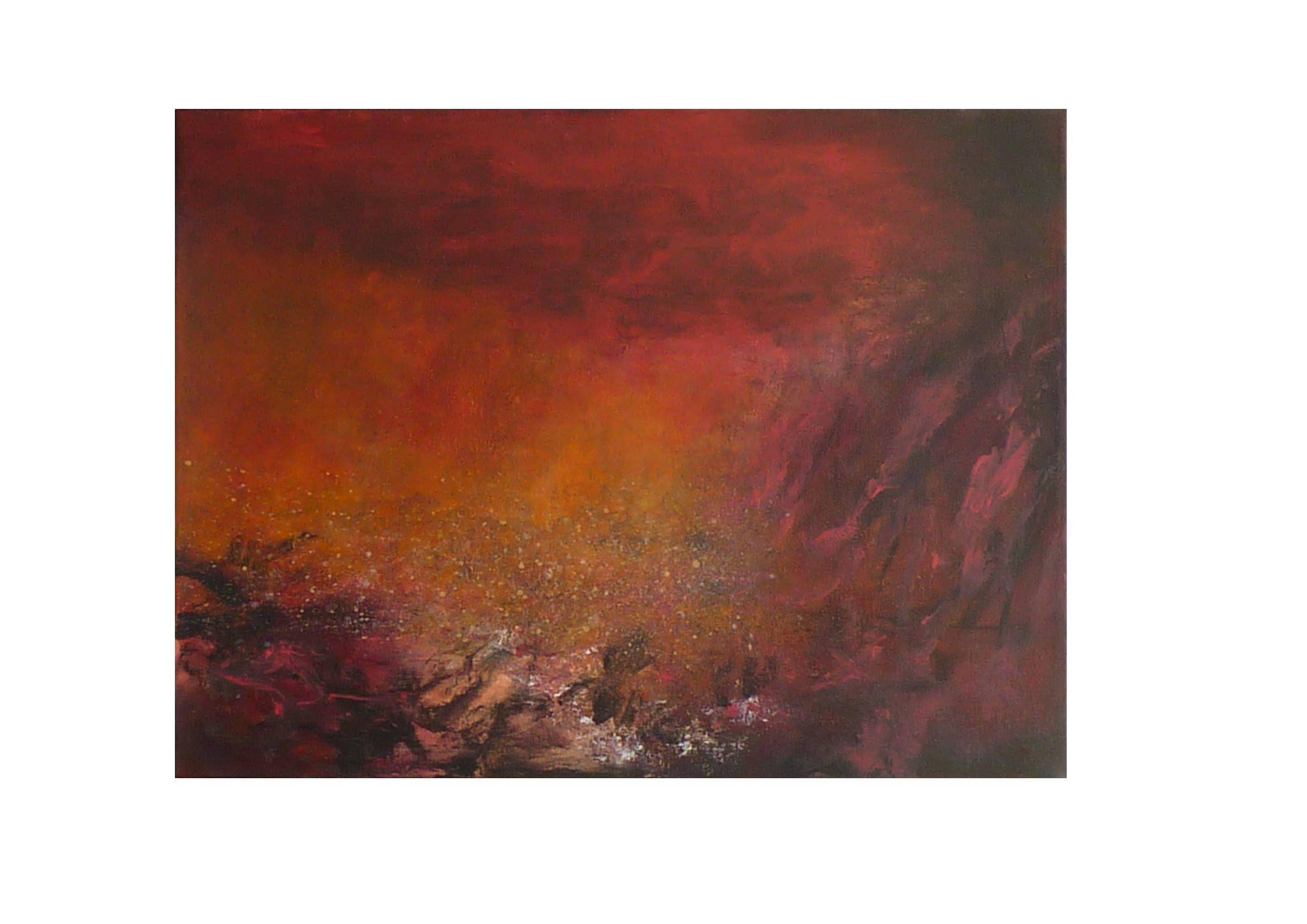 Tableau abstrait rouge orange noir original paysage ...