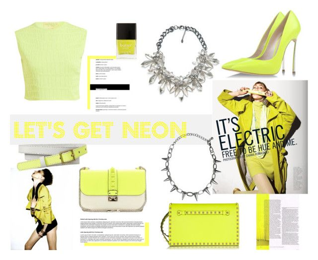 """Let's Get NEON"" by nmkratz ❤ liked on Polyvore featuring Giambattista Valli, Zara, Valentino, Casadei, Gap, Butter London, yellow, neon, accessories and trend2014"
