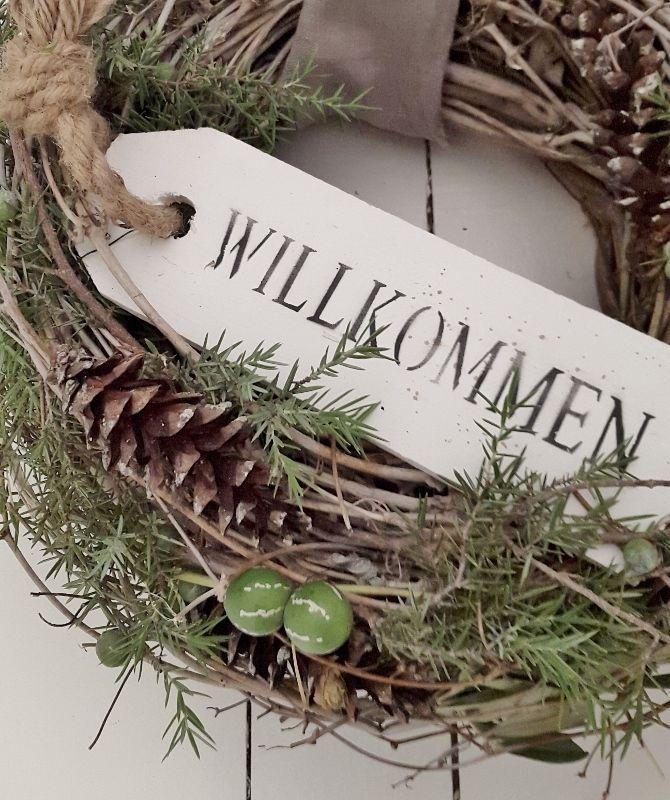 Holzkistchen Mit Hübsch Kleines Schwedenhaus Shabby Chic: Schöner Türkranz Kleines Schwedenhaus Tür Kranz Winterdeko