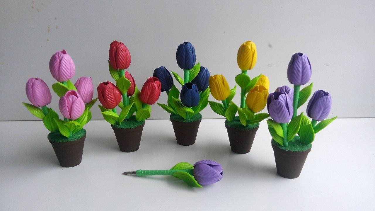 Caneta Decorada De Tulipa Em E V A Passo A Passo Canetas