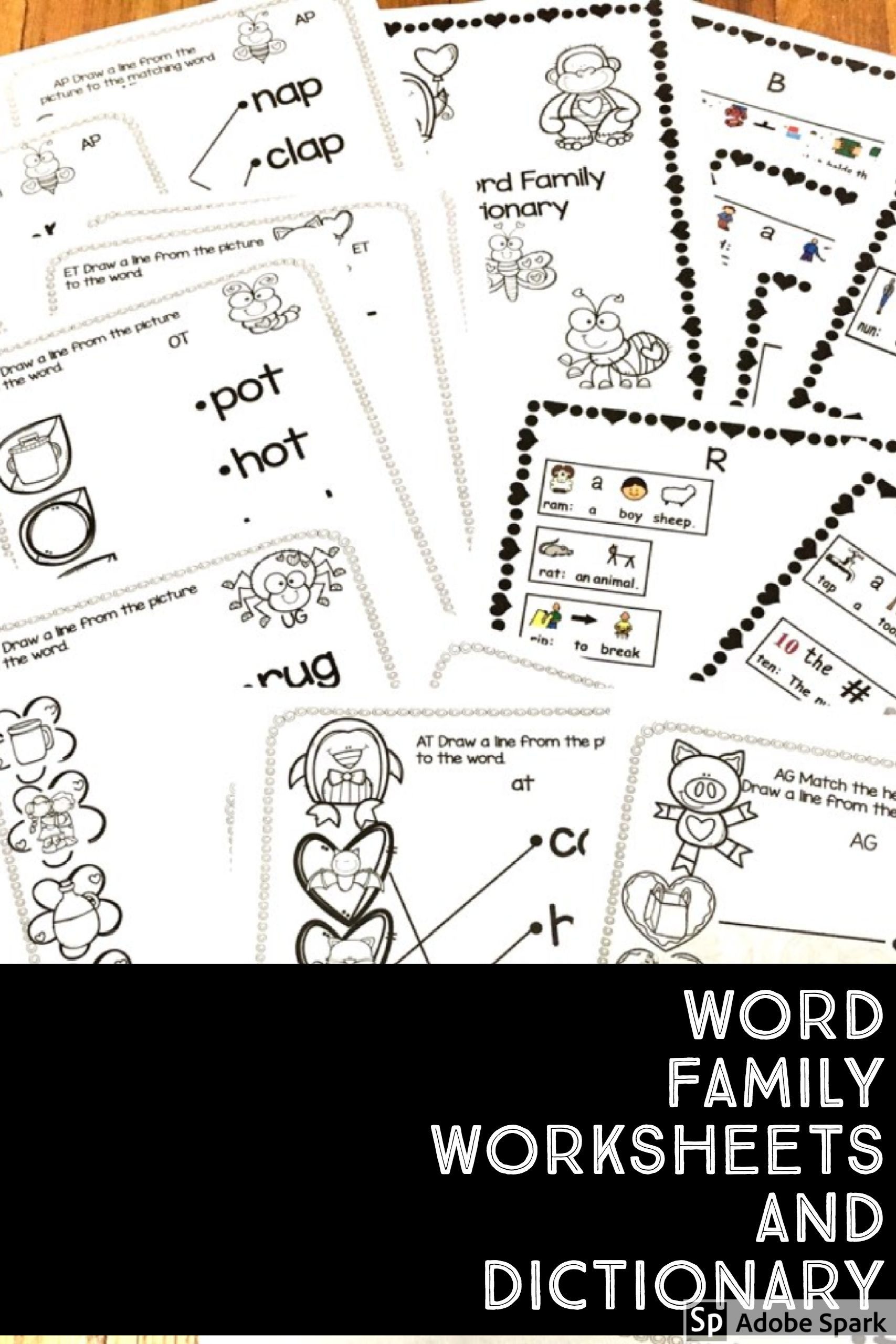 February Valentine Word Family Activity Dictionary