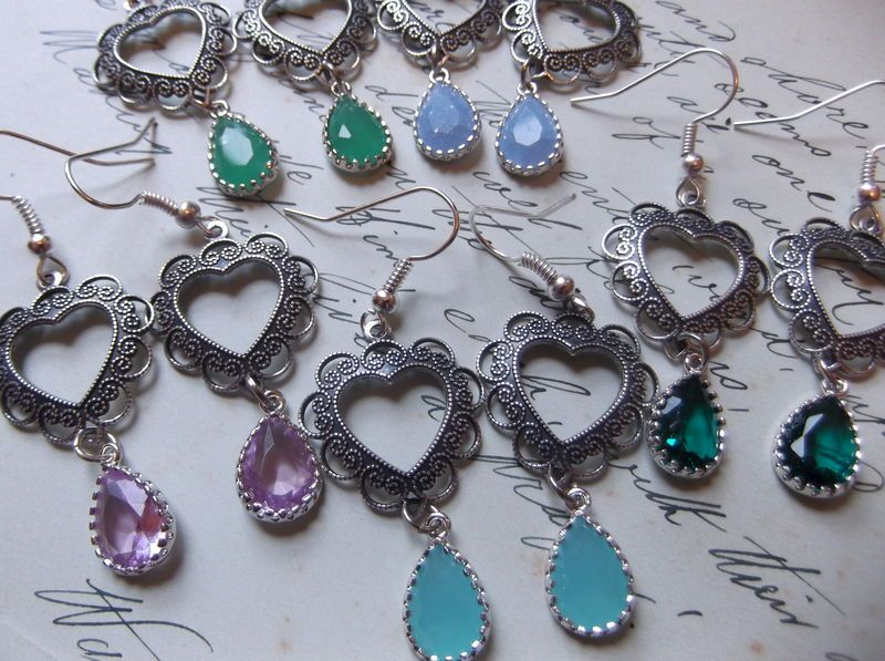 1920's Inspired Classic Heart Drop Earrings- Choose Your Colour! - product images  of