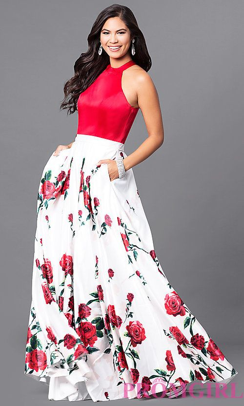 Image of long red print sleeveless prom dress with pockets. Style ...