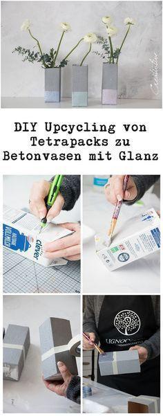 DIY Upcycling Tetrapack als Betonvasen mit Glanz