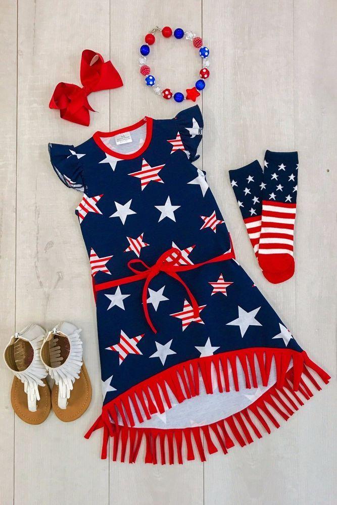 72cc5cecb 4th of July Stars Stripes Fringe Boutique Dress Girl's red white blue  Patriotic #Unbranded #Dress #DressyEverydayHolidayPageantParty4thofJuly