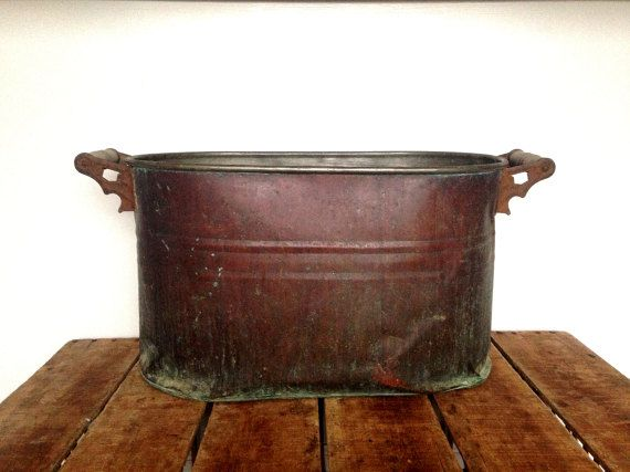 Antique Copper Boiler Large Copper Wash Tub Copper Bucket