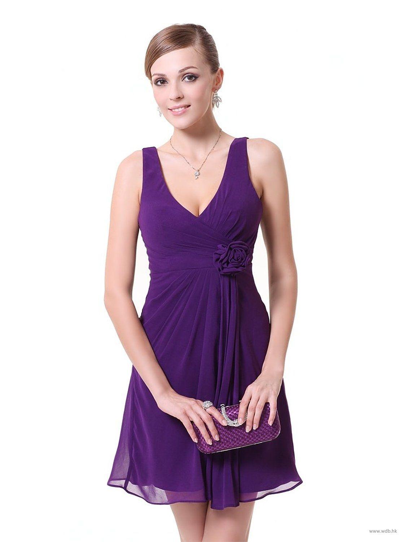 purple wedding V neck empire waist chiffon bridesmaid dress in short ...