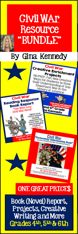 """Three Civil War resources for one great price!  I have bundled three of my best selling Civil War products including Civil War Book (Novel) Report to use with any Civil War novel, an """"Unfortunately/Fortunately"""" book project and rigorous fun creative writing projects.$"""