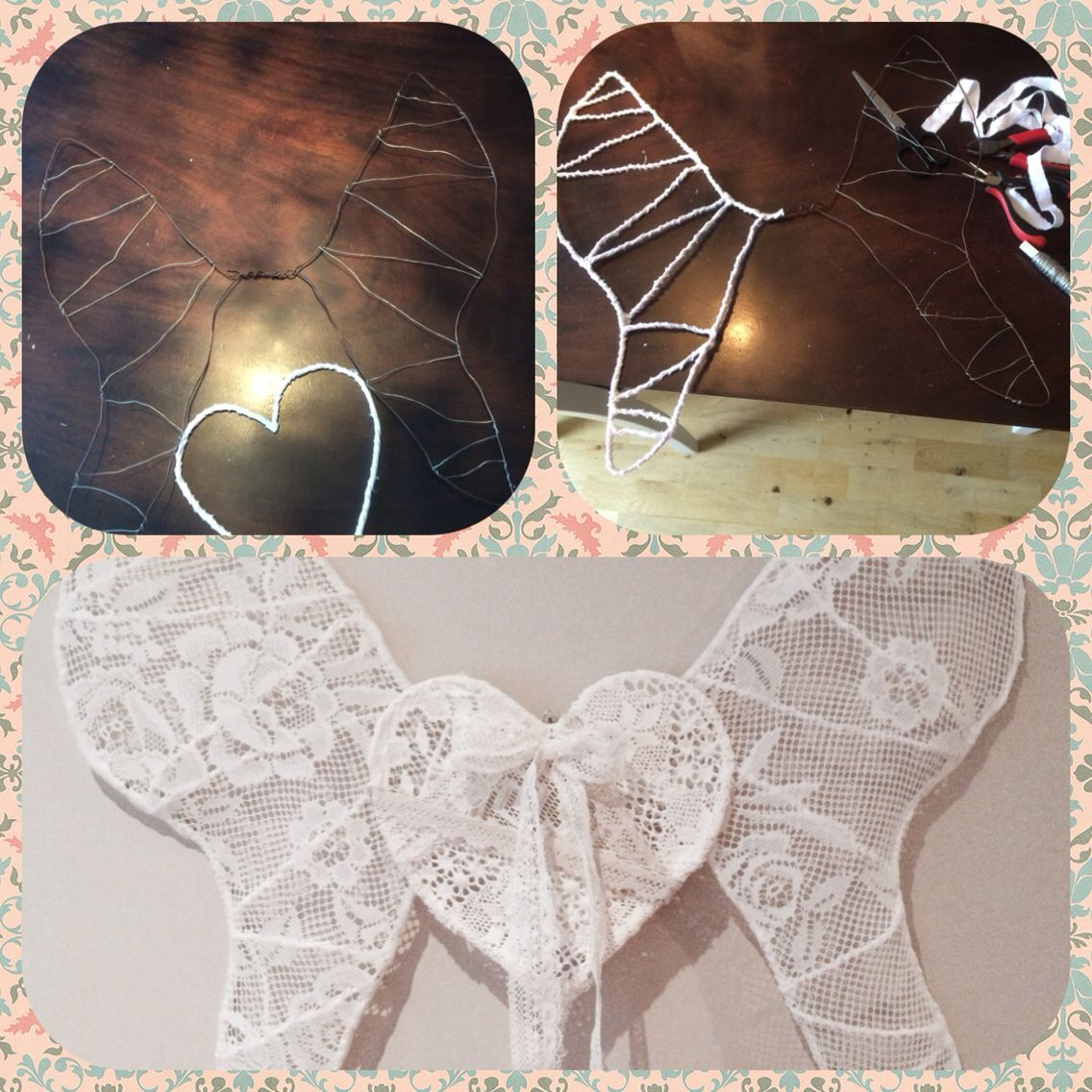Wings from wire and lace diy