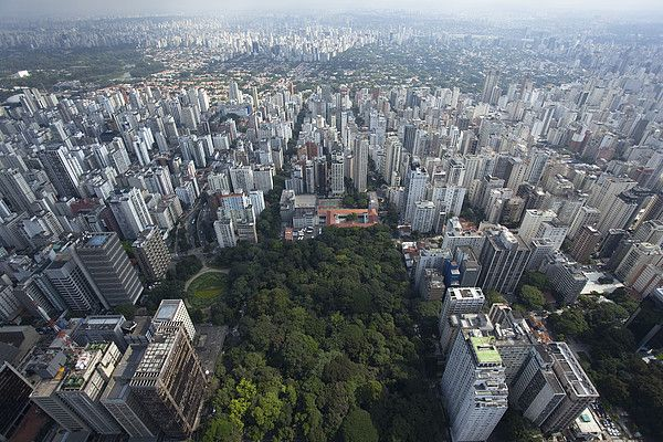 View of Jardins Square n Trianon Park at Paulista Avenue in São Paulo_ Brazil