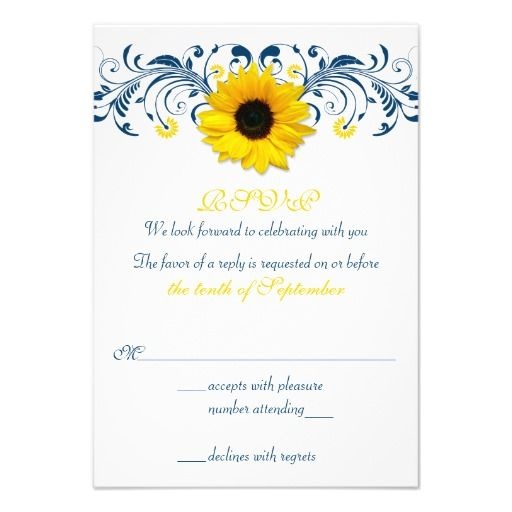 Sunflower Navy Blue Yellow Floral Wedding RSVP Announcement