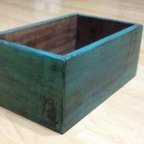 Reclaimed Distressed Turquoise Solid Wood Succulent Box by Kirsten Clibourne