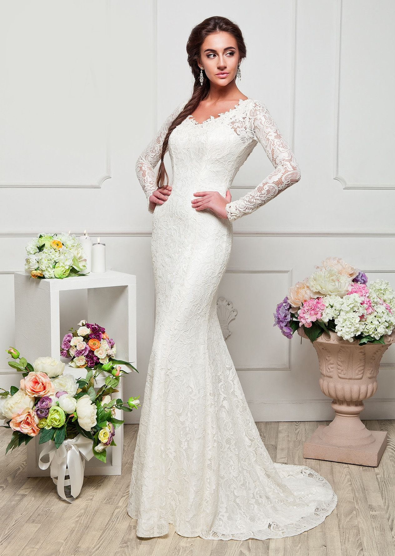 Anasta long lace wedding dress simple long dress unique dresses