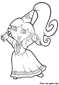Printable Princess Dora The Explorer Coloring Page