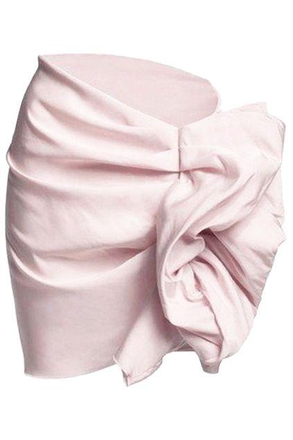Asymmetric Zippered Pink Bud Skirt