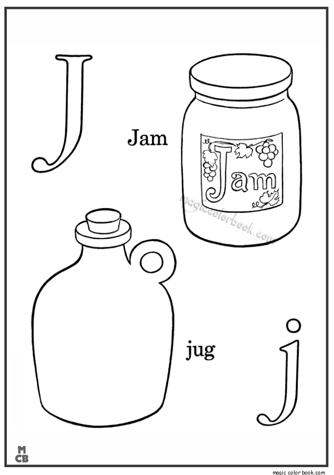 Alphabet J With Picture Coloring Pages Jam Jug Mewarnai Coloring Book Activities