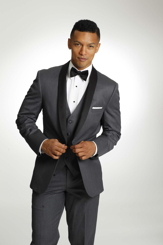 groomsmen look dark grey tux black shall lapel