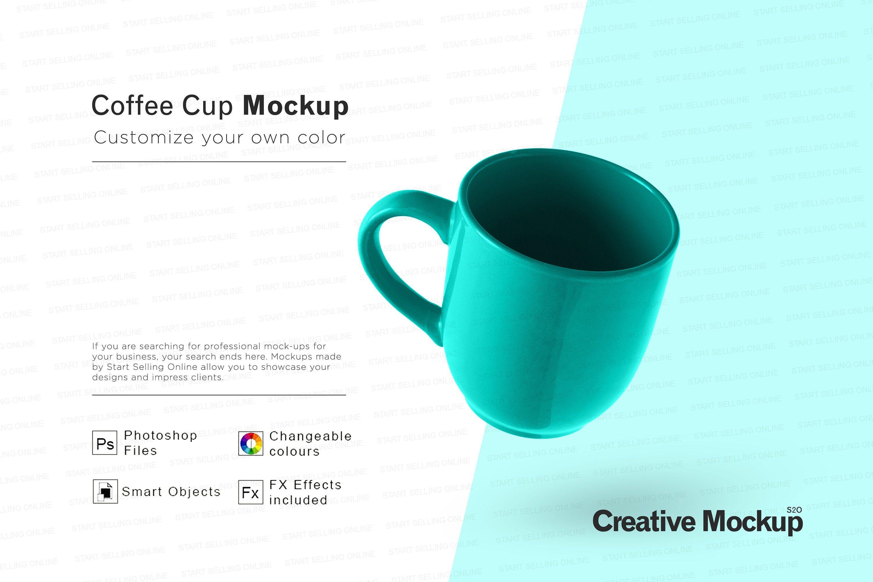 Teal Ceramic Mug Mockup Image High Resolution Smart